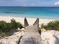awesome private beach entrance at Bahamas - Sand Castle Exuma luxury apartment