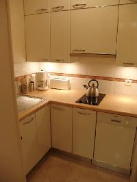 fully functional kitchen equipped with a fridge, compact oven, vitro ceramic stove, microwave, dishw