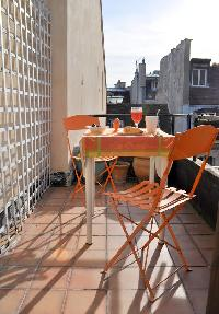 rooftop terrace overlooking the Paris skyline and its picturesque rooftops and the Pantheon in Paris