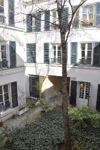 view of a quiet courtyard in Paris luxury apartment