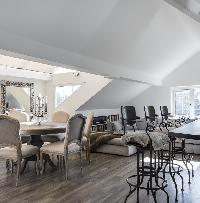 fascinating open-plan living room of London Netherhall Gardens luxury apartment