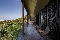 beautiful seafront balcony of Saint Barth Villa Blackstone luxury holiday home, vacation rental