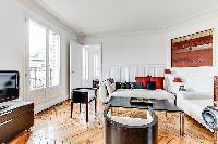 artistic walls and lovely floorings in a 3-bedroom Paris luxury apartment