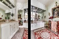 elegant and well-decorated en suite bathroom with tub, and a boudoir in 3-bedroom Paris luxury apart