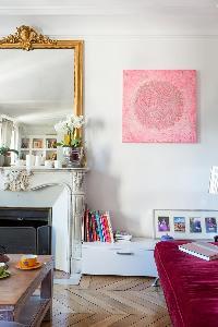 elegant velvet sofa, parquet floor, pink canvas, ornamental fireplace and elaborate mirror in Paris