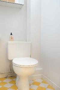 white-walled toilet with chess-tiled in yellow and white in Paris luxury apartment