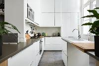 sleek white-and-gray kitchen in Paris luxury apartment