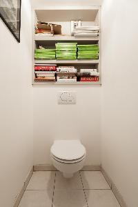 sleek toilet with bookshelves in Paris luxury apartment