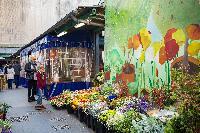 flower shops at Marché Popincourt farmers market close to Paris luxury apartment