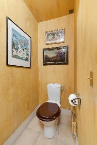 golden yellow-walled toilet in Paris luxury apartment