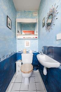 toilet in blue color palette in Paris luxury apartment