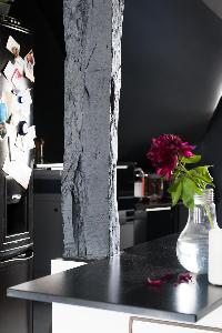 exposed beam beside magenta flower in Paris luxury apartment