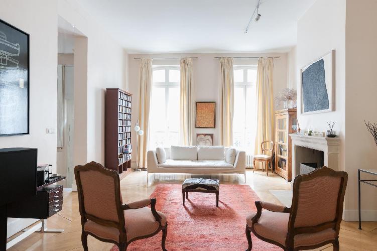 charming living room of Paris - Rue Eugène Flachat luxury apartment