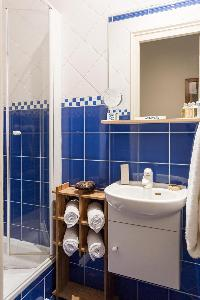 blue-tiled shower area in Paris luxury apartment