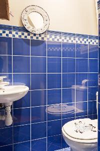 blue-tiled toilet in Paris luxury apartment
