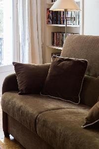brown sofa bed with throw pillows  in Paris luxury apartment