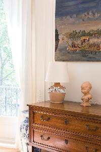 antique wooden cabinet drawer in Paris luxury apartment