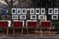 Saint-Germain-des-Pres street with framed artworks