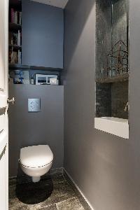 sleek gray toilet in Paris luxury apartment