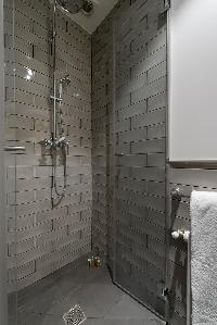 sleek gray shower area in Paris luxury apartment
