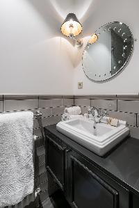 gray sink countertop in Paris luxury apartment