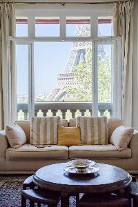 open-plan living space with the first sitting area with Eiffel tower view