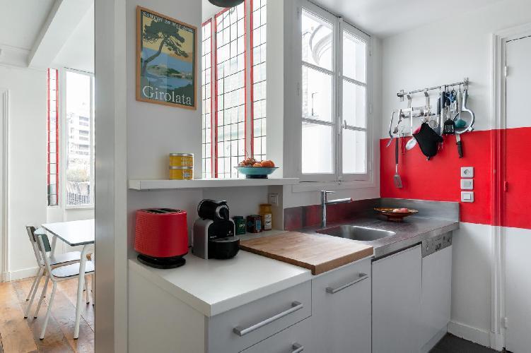 cool kitchen of Paris - Rue des Belles Feuilles luxury apartment
