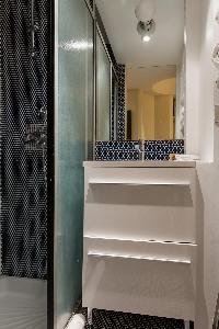 awesome honeycomb bathroom tiles in Paris - Rue du Bac VI luxury apartment