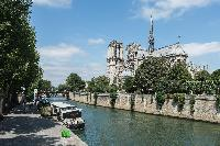 Notre Dame Cathedral and Seine river close to Paris luxury apartment