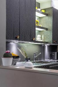 modern kitchen appliances in Paris - Rue du Faubourg Poissonnière IV luxury apartment