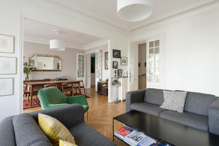 cosy living and dining area in Paris luxury apartment