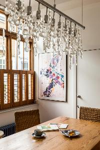 fascinating ceiling lamp and window treatment in London Ensor Mews luxury apartment