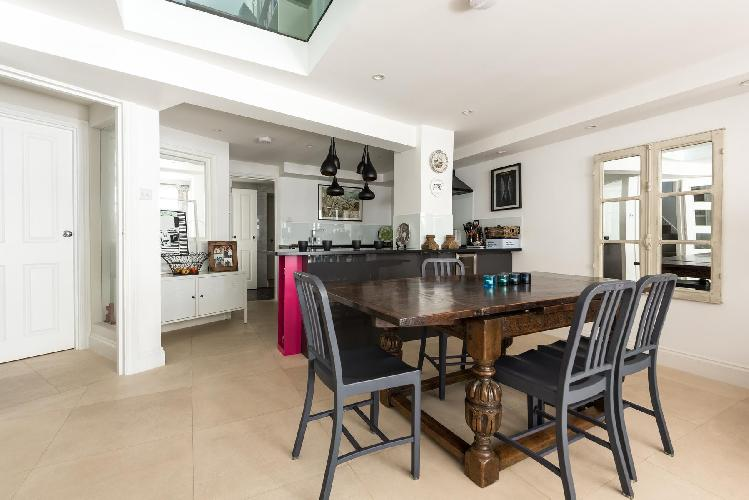 breezy and bright dining room of London Kennington Road luxury apartment
