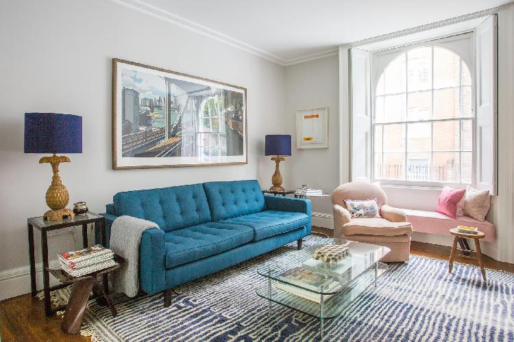 pretty living room of London Thanet Street luxury apartment