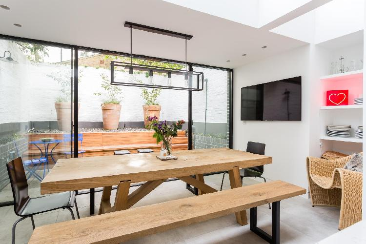 cool dining room of London Thanet Street luxury apartment