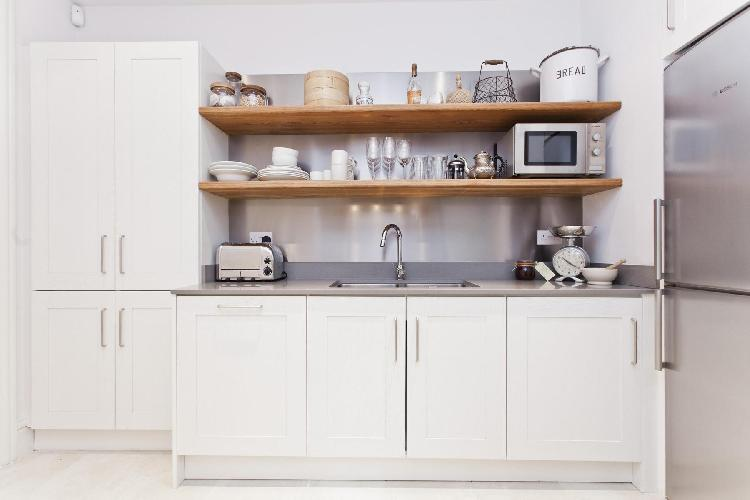 cool kitchen cabinets and accents in London Dorset Square luxury apartment