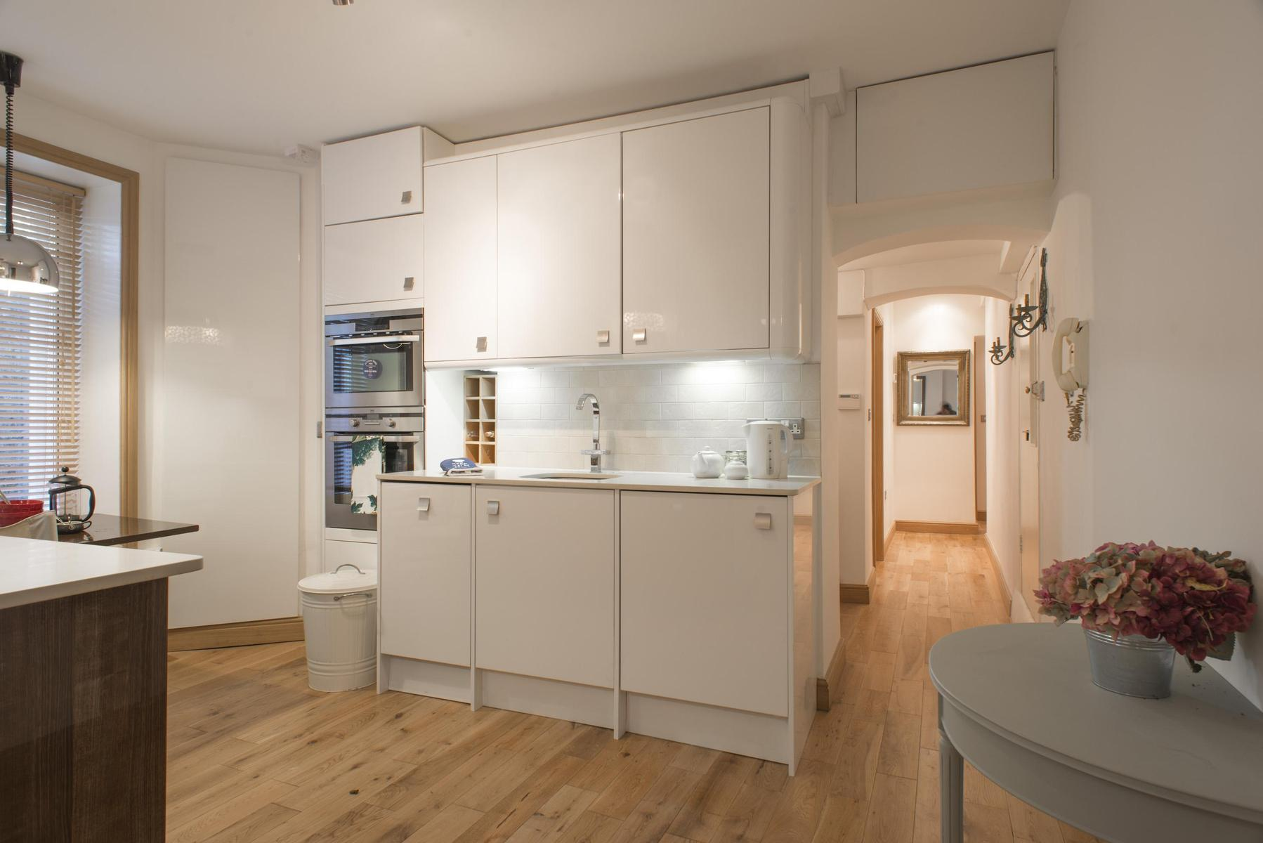 furnished kitchen of London Addison Bridge Place luxury apartment