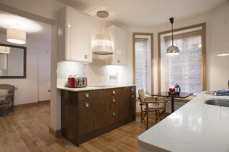 cozy living area of London Addison Bridge Place luxury apartment