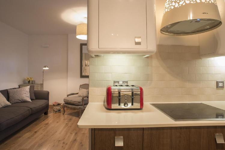 open-plan living room of London Addison Bridge Place luxury apartment