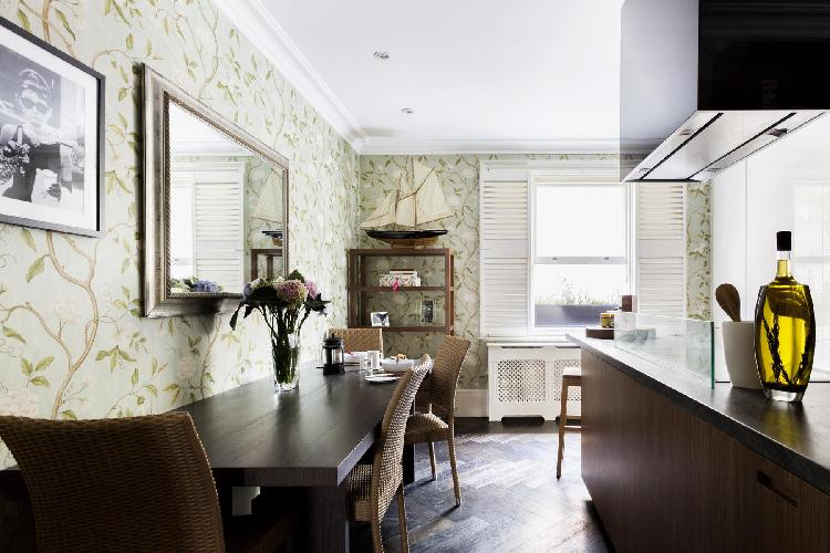 refreshing dining-room wallpaper of London Belgravia Place luxury apartment