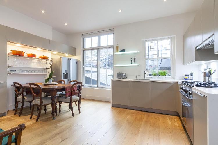 splendid, spacious modern kitchen of London Crawford Street luxury apartment