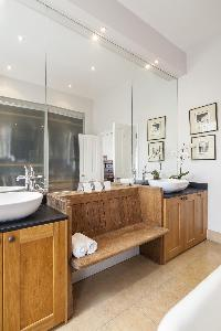 awesome double-sink bathroom vanity in London Winchendon Road luxury apartment