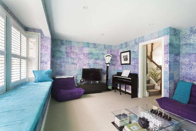 cool TV room in London St Catherine's Mews luxury apartment
