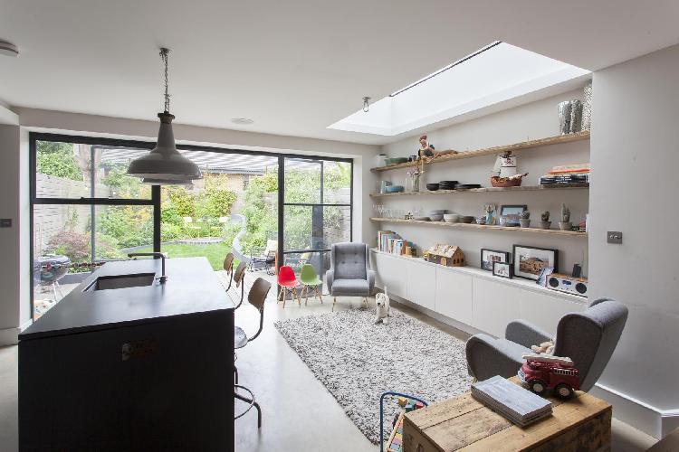 living-room glass doors to the garden of London Ardilaun Road luxury apartment