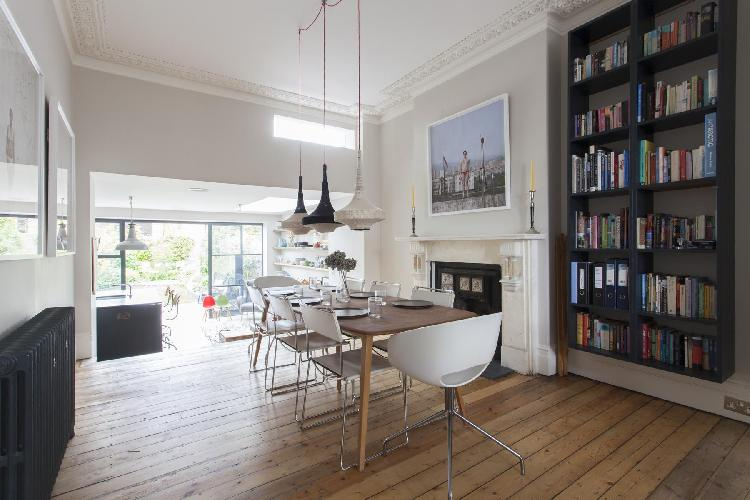 dining-area pendant lamps in London Ardilaun Road luxury apartment