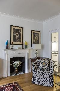 ornamental fireplace in London Beaufort Gardens luxury apartment