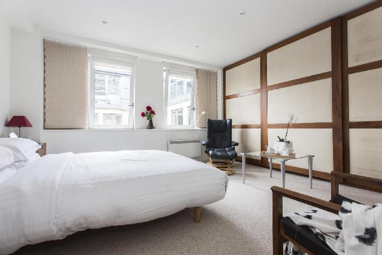 adorable bedroom in London Lambs Conduit Street luxury apartment