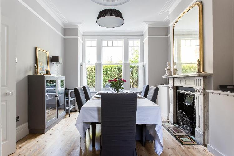 bright and breezy dining room of London Altenburg Gardens IV luxury apartment