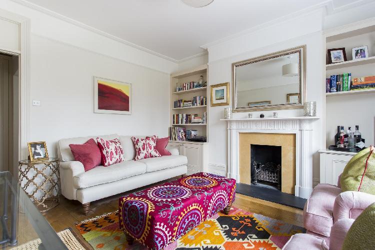 fireplace in the sitting area of London Albert Bridge Road II luxury apartment