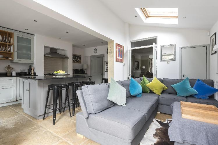 cool skylight-illuminated sitting room of London Dempster Road luxury apartment